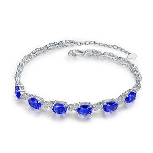 18Kt White Gold Luxury 4.8Ct Tanzanite & Diamonds Bracelet - Medusa Jewels