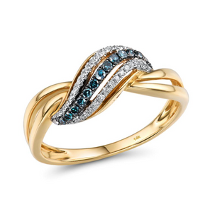 14K Yellow Gold Blue Diamonds Ring