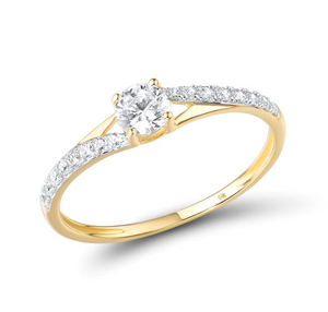 9K Yellow Gold 0.7Ct Cubic Zirconia Ring