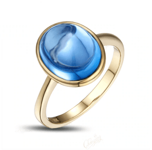 14K Yellow Gold 5.02CT Cabochon Blue Topaz Solitaire Ring - Medusa Jewels