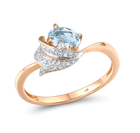 14K Rose Gold 0.6Ct Topaz & Diamonds Ring