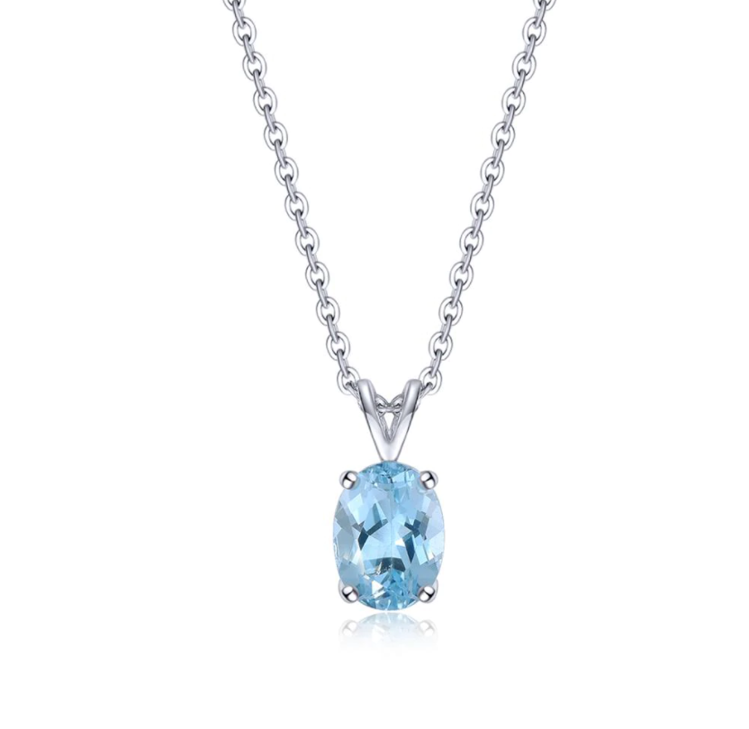 14K White Gold 1.53Ct Blue Topaz Pendant