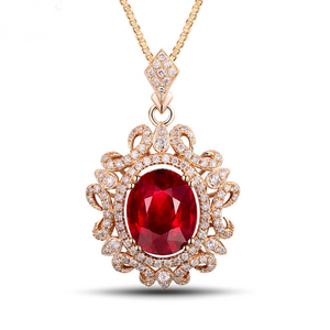 14K Yellow Gold 4.08Ct Oval Ruby Pendant - Medusa Jewels