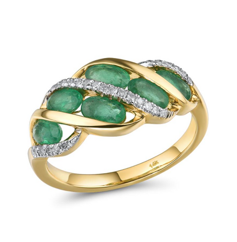 14K Yellow Gold 1.32Ct Oval Emerald Ring