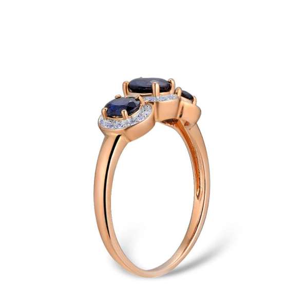 14K Rose Gold Blue 1.5Ct Sapphire Ring