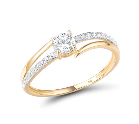 9K Yellow Gold Round Cubic Zirconia Ring