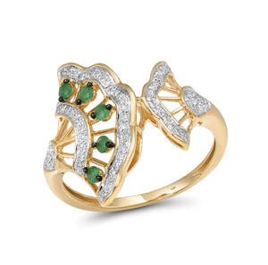 14K 585 Yellow Gold Emerald & Diamonds Ring - Medusa Jewels