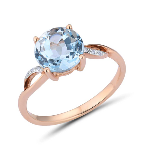 14K Rose Gold 2.6Ct Blue Topaz Ring