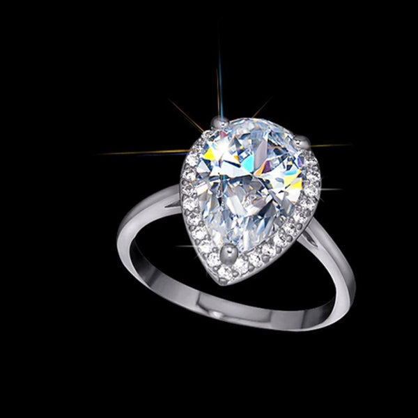 925 Sterling Silver Pear Cut 4Ct Halo Ring - Medusa Jewels