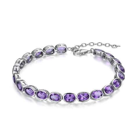 925 Sterling Silver 14.25Ct Amethyst Bracelet - Medusa Jewels