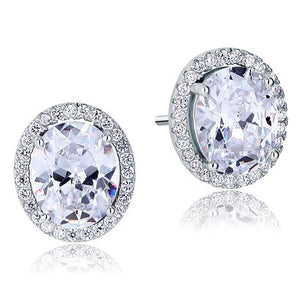 925 Sterling Silver 3Ct Oval Zircon Stud Earrings - Medusa Jewels