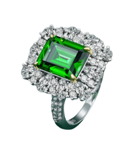 925 Sterling Silver Emerald & Moissanites Ring - Medusa Jewels