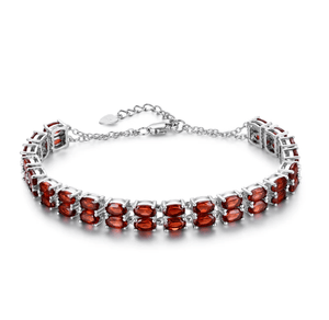 925 Sterling Silver 11.5Ct Garnet Bracelet - Medusa Jewels