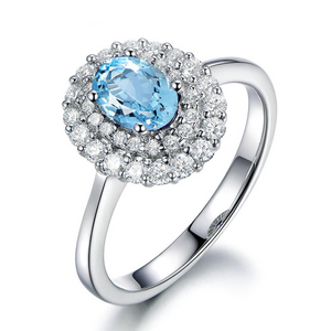 925 Sterling Silver 1.25Ct Oval Topaz Ring