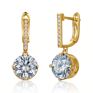14K Yellow Gold 3.36ct Moissanite Drop Earrings