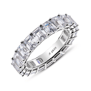 925 Sterling Silver Emerald Cut Eternity Ring - Medusa Jewels