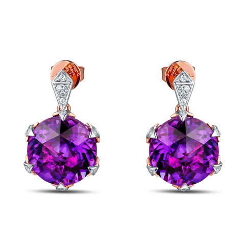 14K Rose Gold 8.4ct Amethyst Earrings