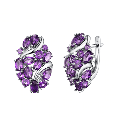 925 Sterling Silver 5Ct Amethyst Drop Earrings - Medusa Jewels