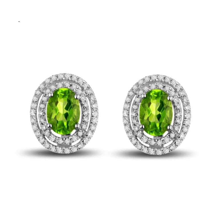 18Kt White Gold 1.78Ct Green Peridot Earrings