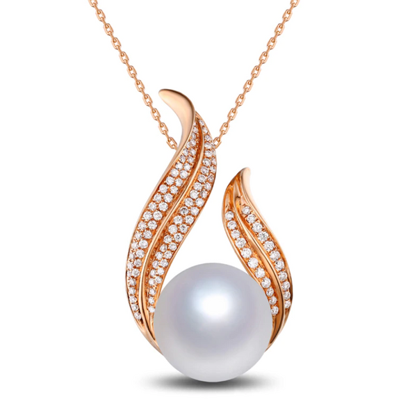 14k Rose Gold Pearl & 0.55Ct Diamond Pendant