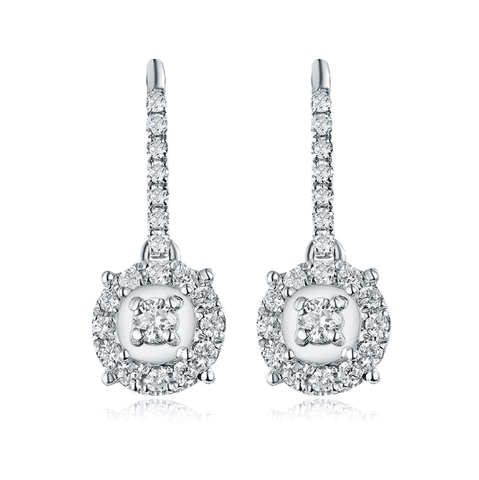18K White Gold Royal Diamond Drop Earrings - Medusa Jewels