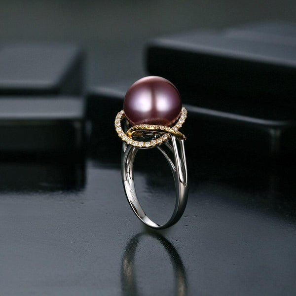 18k Two-Tone Gold 0.4ct Pearl Ring - MEDUSA JEWELS