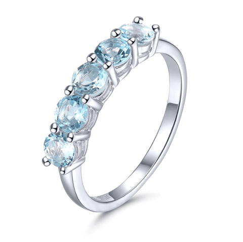 925 Sterling Silver Aquamarine Five-Stone Ring - Medusa Jewels