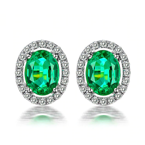 14K White Gold 2.29ct Emerald Stud Earrings