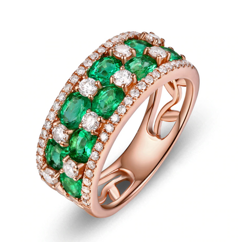 18K Rose Gold 1.65ct Emerald Ring