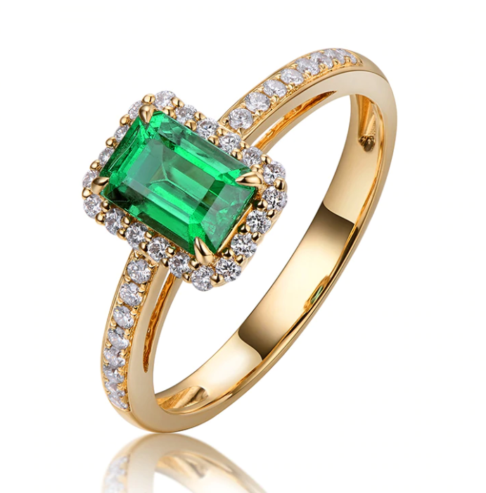 14K Yellow Gold 0.55ct Emerald Halo Ring