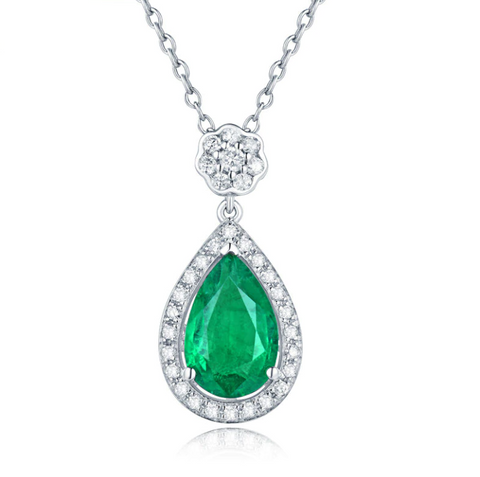 18K White Gold 1.8Ct Pear Emerald Pendant