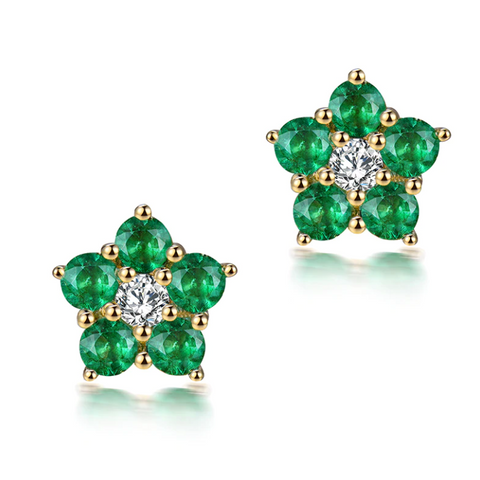 18K Yellow Gold 0.9Ct Emerald & Diamond Earrings