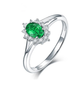 14K White Gold Natural Colombia Emerald Engagement Ring - Medusa Jewels