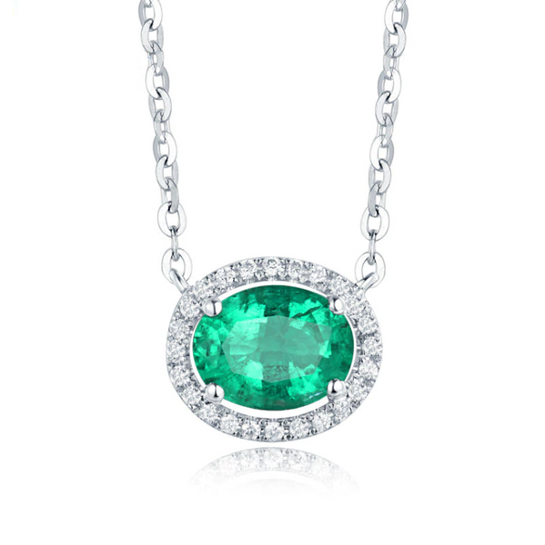 18K White Gold 1Ct Oval Emerald Pendant