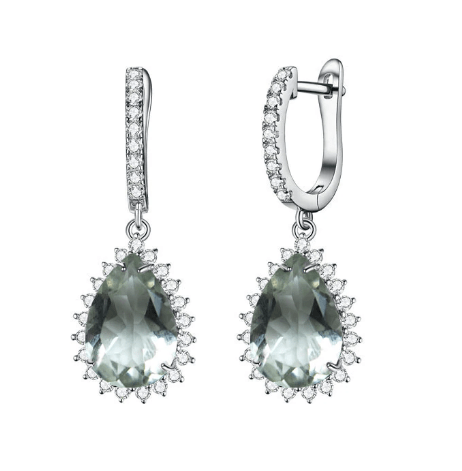 925 Sterling Silver 5Ct Green Amethyst Drop Earrings - Medusa Jewels