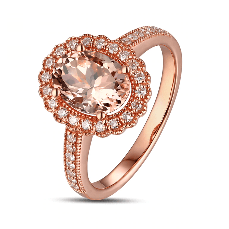 14K Rose Gold 1.76t Oval Morganite Halo Ring - MEDUSA JEWELS