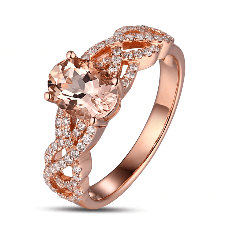 14K Rose Gold 1.35Ct Oval Morganite Ring - MEDUSA JEWELS