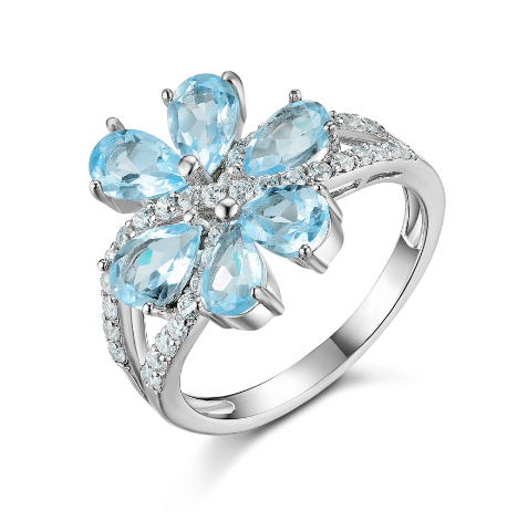 925 Sterling Silver 3ct Sky Blue Topaz Ring - Medusa Jewels