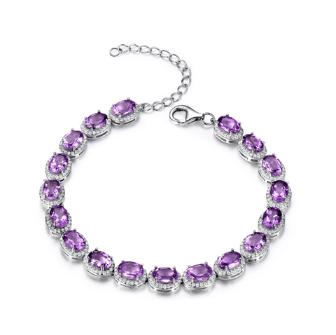 925 Sterling Silver 13.5ct Amethyst Bracelet - Medusa Jewels
