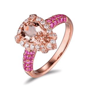 14K Rose Gold 1.36ct Morganite & Pink Sapphires Ring - MEDUSA JEWELS