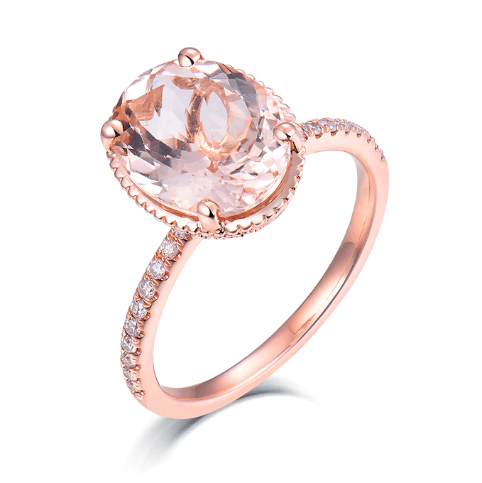14K Rose Gold 3Ct Oval Morganite Ring - MEDUSA JEWELS