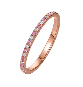 14K Rose Gold Pink Sapphire Half Eternity Ring - MEDUSA JEWELS