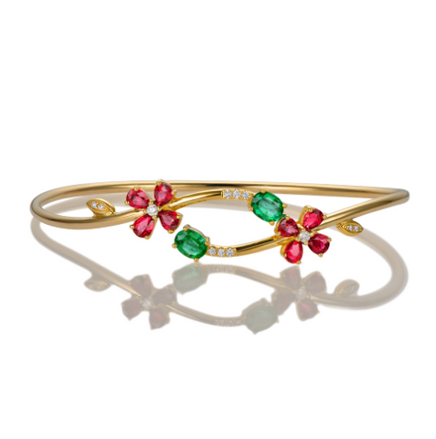18K Yellow Gold Emerald & Ruby Bracelet - Medusa Jewels