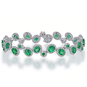 18K White Gold 5.58Ct Emerald Gemstone Bracelet - Medusa Jewels