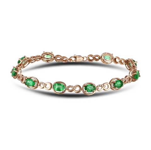 14k Rose Gold Oval 4.50ct Emerald Bracelet - Medusa Jewels