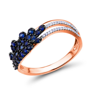 14K Rose Gold 0.46Ct Blue Sapphire Ring