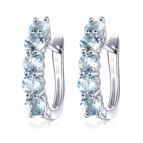 925 Sterling Silver Aquamarine Earrings - Medusa Jewels