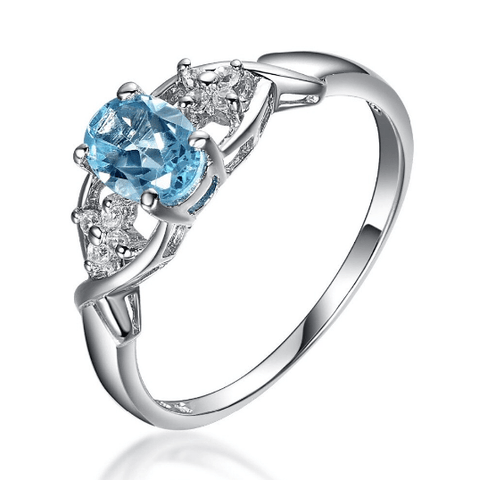 925 Sterling Silver Oval Cut Topaz Ring - Medusa Jewels