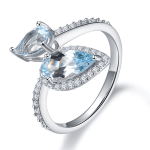 925 Sterling Silver Pear Cut Blue Topaz Ring - Medusa Jewels
