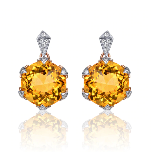 14K Rose Gold Round 7.98ct Citrine & Diamond Earrings - Medusa Jewels